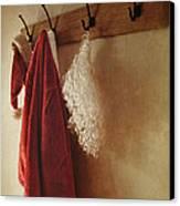 Santa Costume Hanging On Coat Rack Canvas Print by Sandra Cunningham