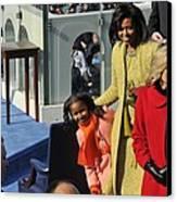Sasha Obama Peeks Around Her Mother Canvas Print by Everett
