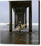 Scripps Pier Surfer Canvas Print by Bob Christopher