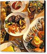 Seafood And Steak Buffet Dinners Canvas Print by Vance Fox