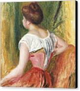 Seated Young Woman Canvas Print by Pierre Auguste Renoir