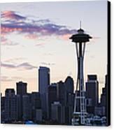 Seattle Skyline At Dusk Canvas Print by Jeremy Woodhouse