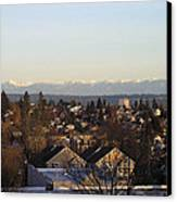 Seattle Suburb In Winter Canvas Print by Silvie Kendall