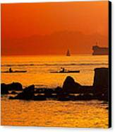 Seawall Silhouette Canvas Print by Matt  Trimble