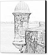 Sentry Tower Castillo San Felipe Del Morro Fortress San Juan Puerto Rico Line Art Black And White Canvas Print by Shawn O'Brien