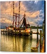 Shrimp Boat At Sunset Canvas Print by Debra and Dave Vanderlaan