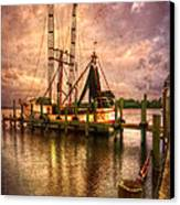 Shrimp Boat At Sunset II Canvas Print by Debra and Dave Vanderlaan