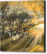 Skeletons At Sunset Canvas Print by Debra and Dave Vanderlaan