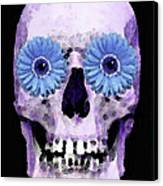 Skull Art - Day Of The Dead 3 Canvas Print by Sharon Cummings