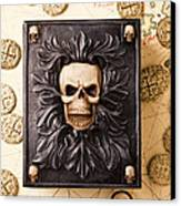 Skull Box With Skeleton Key Canvas Print by Garry Gay