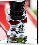 Skull With Top Hat Hood Ornament Canvas Print by Garry Gay