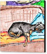Sleeping Rottweiler Dog Canvas Print by Jera Sky