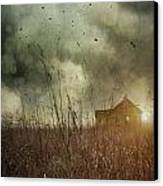 Small Abandoned Farm House With Storm Clouds In Field Canvas Print by Sandra Cunningham