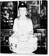 Small Golden Buddha Statue In Monastery Of Ten Thousand Buddhas Sha Tin New Territories Hong Kong Canvas Print by Joe Fox