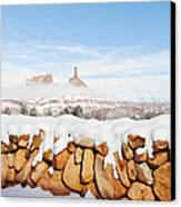 Snow Covered Rock Wall Canvas Print by Thom Gourley/Flatbread Images, LLC