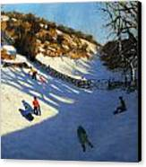 Snow In The Valley Canvas Print by Andrew Macara