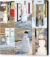 Snowmen Antics. Canvas Print by Kelly Nelson