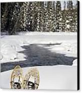Snowshoes By Snowy Lake Lake Louise Canvas Print by Michael Interisano