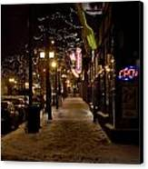 Snowy Downtown Canvas Print by Laurianna Murray