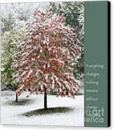 Snowy Maple With Buddha Quote Canvas Print by Heidi Hermes