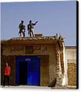 Soldiers Discuss The New Iraqi Police Canvas Print by Stocktrek Images