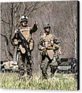 Soldiers Perform A Site Survey In Camp Canvas Print by Stocktrek Images