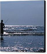 Solitary Angler Canvas Print by Skip Willits