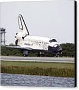 Space Shuttle Discovery On The Runway Canvas Print by Stocktrek Images