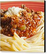 Spaghetti Bolognese Dish Canvas Print by Andre Babiak