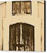Spanish Fort Door Castillo San Felipe Del Morro San Juan Puerto Rico Prints Rustic Canvas Print by Shawn O'Brien