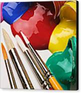 Spilt Paint And Brushes  Canvas Print by Garry Gay