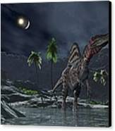 Spinosaurus Witnessing A Lunar Impact Canvas Print by Walter Myers