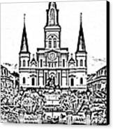 St Louis Cathedral On Jackson Square In The French Quarter New Orleans Photocopy Digital Art Canvas Print by Shawn O'Brien