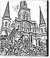 St Louis Cathedral Rising Above Palms Jackson Square New Orleans Photocopy Digital Art Canvas Print by Shawn O'Brien