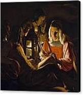 St. Sebastian Tended By Irene Canvas Print by Georges de la Tour
