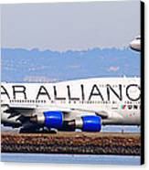 Star Alliance Airlines And United Airlines Jet Airplanes At San Francisco Airport Sfo . Long Cut Canvas Print by Wingsdomain Art and Photography