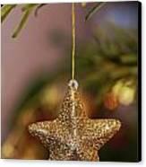 Star And Garland On Christmas Tree Canvas Print by Sami Sarkis