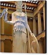 Statue Of Athena And Nike Canvas Print by Linda Phelps
