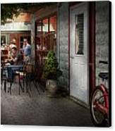 Storefront - Frenchtown Nj - At A Quaint Bistro  Canvas Print by Mike Savad