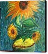Sunflower In A Vase Canvas Print by Prasenjit Dhar