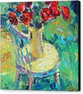 Sunny Impressionistic Rose Flowers Still Life Painting Canvas Print by Svetlana Novikova