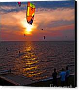 Sunset Kiteboarding On The Pamlico Sound Canvas Print by Anne Kitzman