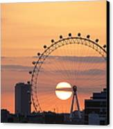 Sunset Viewed Through The London Eye Canvas Print by Photograph by Lars Plougmann