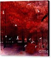 Surreal Fantasy Red Woodlands With Birds Seagull Canvas Print by Kathy Fornal