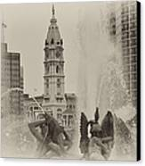Swann Memorial Fountain In Sepia Canvas Print by Bill Cannon