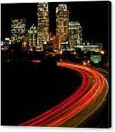 Taillights Toward Charlotte Skyline Canvas Print by Patrick Schneider
