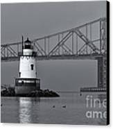 Tarrytown Lighthouse And Tappan Zee Bridge Viii Canvas Print by Clarence Holmes