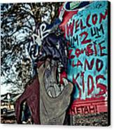 Taz Welcomes You To Zombie Land Canvas Print by Pixel Perfect by Michael Moore