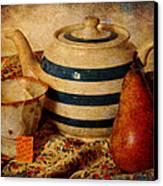 Tea And Pear Canvas Print by Toni Hopper
