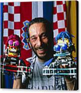 Technician With Lego Footballers At Robocup-98 Canvas Print by Volker Steger
